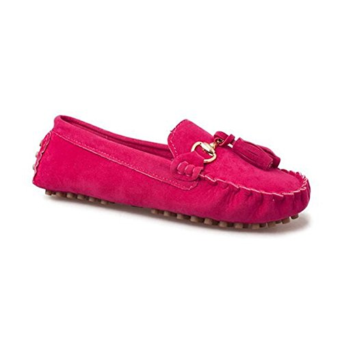 Angelliu Mujeres Casual Suede Mujeres Embarazadas Doug Zapatos Cómodas Drive Flats Mocasines Con Bow Rose