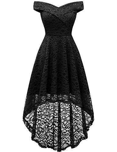 Homrain Women's Off Shoulder Hi-Lo Floral Lace Dress Vintage Elegant Cocktail Party Wedding Dresses Black L
