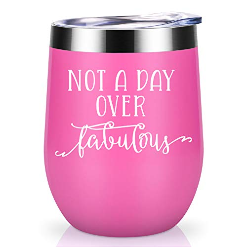 Not a Day Over Fabulous | Coolife 12oz Stainless Steel Novelty Wine Tumbler Insulated Funny Sippy Cup with Lid and Straw | Perfect Birthday, Wedding, Christmas, Mother's Day Gifts for -