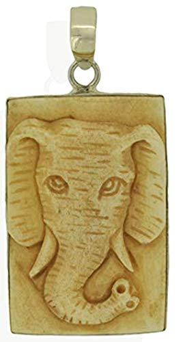 Elephant Pendant Carved Buffalo Bone Bali 925 Sterling Silver