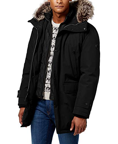 Michael Kors Men's MMK791896 Heavyweight Hooded Snorkel Parka Coat with Bib - Black - 2XL (Michael Michael Kors Mens Hooded Bib Snorkel Coat)