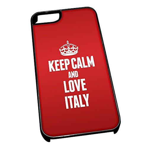 Nero cover per iPhone 5/5S 2213Red Keep Calm and Love Italia