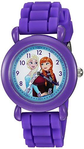 Disney Girl's 'Frozen' Quartz Plastic and Silicone Casual Watch, Color:Purple (Model: WDS000004)