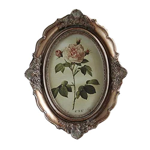 SIKOO Vintage Picture Frame 4x6 Oval Antique Table Top Wall Mounting Photo Frame with Glass Front for Home Decor, Gold