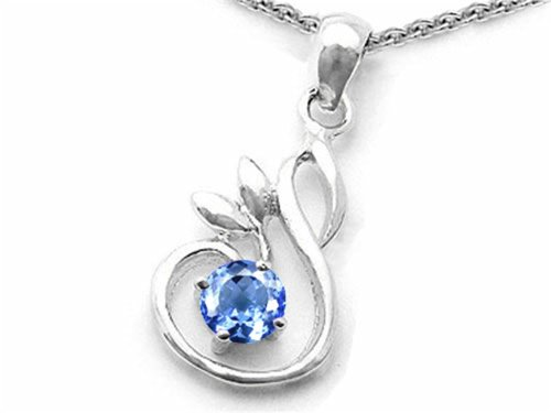 Star K Sterling Silver Round Swan Pendant Necklace