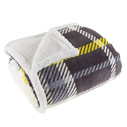 - Lavish Home 61-00004-BL Fleece Sherpa Blanket Throw-Plaid Yellow/Grey (Renewed)