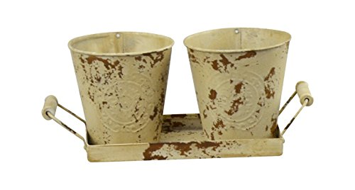 Red Carpet Studios 20039 2 Metal Bucket Planters with Tray, Vintage Buttercream ()
