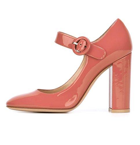 Rond a Cheville Mary Babypink Chaussures Escarpins de Pompes Bride Janes Mariage EDEFS Femme Boucle Bout Talon Mariee qPYFt0F