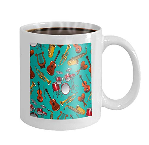 (11 oz Coffee Mug classical musical instruments turquoise drum set guitar trumpet saxophone violin lyre Stars Novelty Ceramic Gifts Tea Cup )