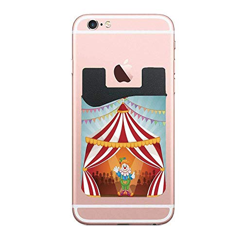 Clown in Circus Tent Cheerful Costume Credit Card/ID Card Holder dhesive Stick on Wallet for ID Credit Card Phone Sleeves for iPhone Android -