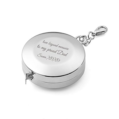 Engraved Chrome Plated Solid Round Tape Measure Key Chain, 2 Meter Steel Blade, Unique Gift Idea for Husband, Father, Groomsman, Home Improvement Specialist & DIYer, Premium Corporate Gifts