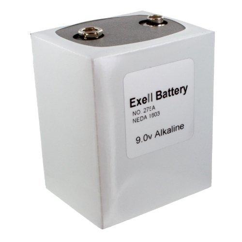 Exell Battery 276 Alkaline 9V Battery NEDA 1603, PP9, 6F100, White/Silver