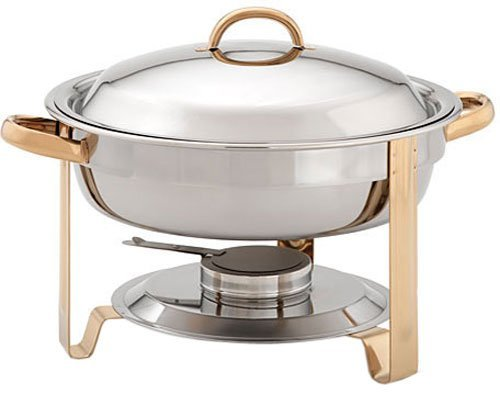 Update International DC-4/GB Stainless Steel Gold-Accented Chafer, Round, 4-Quart by Update International