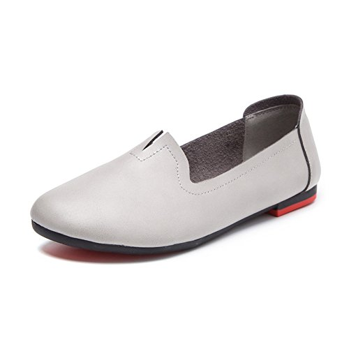 Womens Genuine Leather Casual Loafers Soft Sole Work Flat Shoes for Mothers Nurses Maternity Gray vG4DoPrNN0