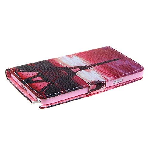Funda para Galaxy S4 Mini, Galaxy S4 Mini Funda de PU cuero resistente, Galaxy S4 Mini Ultra Slim PU Cuero Folding Stand Flip Funda Carcasa Caso,Galaxy S4 Mini Leather Case Wallet Protector Card Holde Torre de la tarde