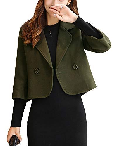 Faux Veste Chaud Hiver De Mélange Double Femme Blouson Vert Coat Courte Laine Boutonnage Manteau Trench zqr0twqWP
