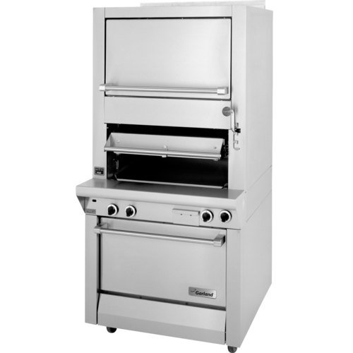 Garland M100XSM Master Series Gas Single Deck Broiler with Finishing Oven & Storage - Deck Broiler