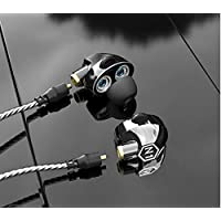 In-ear Headphones VJJB Dual Dynamic Coils Replacable Cables Built-in MIC Stereo Noise Reduction Earphones HIFI Deep Bass Headsets Sweatproof Waterproof Earbuds for All Music Player-Clear Black