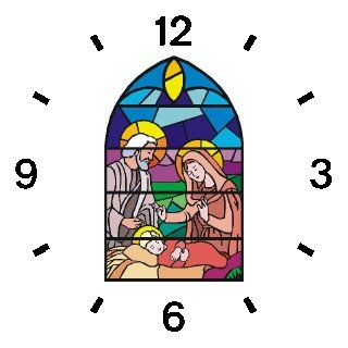 The Christ Child, Mary & Joseph (Stained Glass) No.2 Christian Theme - WATCHBUDDY DELUXE TWO-TONE THEME WATCH - Arabic Numbers - Blue Leather Strap-Children's Size-Small ( Boy's Size & Girl's Size )