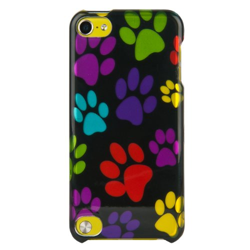 ((Colorful Dog Paws) SumacLife Crystal Snap On Faceplate Shield Protector Case Cover for Apple iPod Touch 5 (32GB 64GB) 5th Generation)