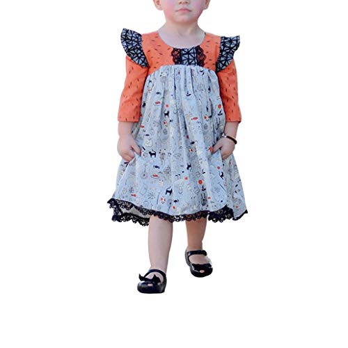 Xshuai  Halloween Skirt Toddler Kids Baby Girl Long Sleeve Cartoon Lace...