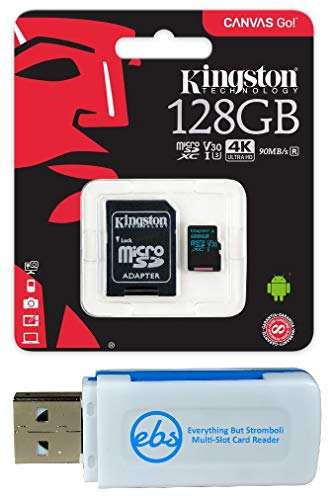 Kingston 128GB SDXC Micro Canvas Go! Memory Card and Adapter Bundle Works with GoPro Hero 7 Black, Silver, Hero7 White Camera (SDCG2/128GB) Plus 1 Everything But Stromboli (TM) TF and SD Card Reader