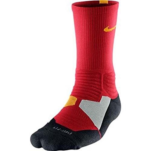 Nike Men's Hyper Elite Basketball Crew Socks Medium (Shoe Size 6-8)Red, Gold