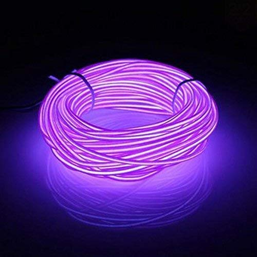 16.4ft Neon Glowing Strobing Electroluminescent EL Wire Light with Battery Pack Controller for Parties, Halloween, Automotive, Advertisement Decoration (Purple) ()
