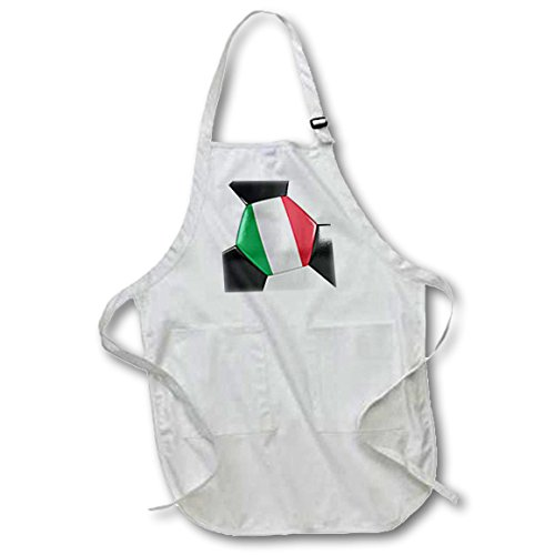 3dRose Italy Soccer Ball - Medium Length Apron, 22 by 24-Inch, with Pouch Pockets (apr_181226_2) by 3dRose