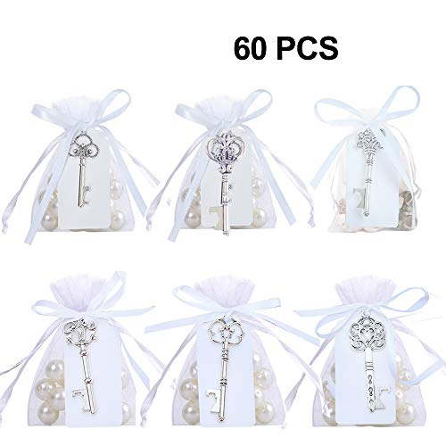 (GuiHe Pack of 60 Silver Skeleton Key Bottle Opener with Escort Tag Card and Twine for Wedding Favors Baby Shower Return Gifts for Guests Party Favors (Mixed 6 Styles Silver))