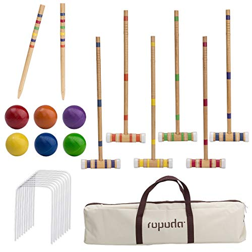ROPODA Six-Player Croquet Set with Wooden Mallets, Colored Balls, Sturdy Carrying Bag for Adults &Kids, Perfect for Lawn,Backyard,Park and More (Croquet Game)