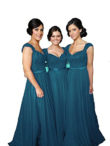 Teal Dress Homecoming (Fanciest Women' Cap Sleeve Lace Bridesmaid Dresses Long Wedding Party Gowns Teal US10)