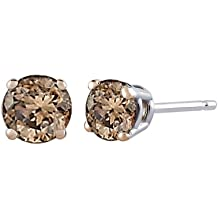 Brown / Champagne - I1 Round Brilliant Cut Diamond Earring Studs in 14K White Gold