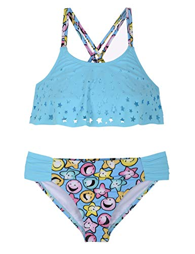 66fe52e0d3e Hilor Girl's Bikini Swimsuits Ruffle Flounce Two Piece Beach Swimwear  Tankini Set