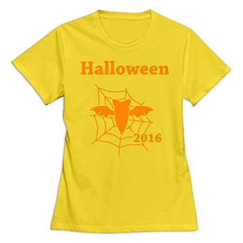 - Women's Happy Halloween Day 100% Cotton O Neck T-Shirt Yellow US Size S