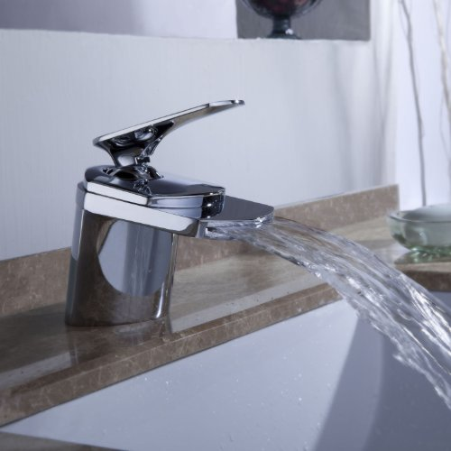 Sprinkle Contemporary Widespread Waterfall Bathroom Sink Faucet Chrome Finish Deck Mount Bath Tub Mixer Taps Lavatory Widespread Roman Tub Faucet One Hole Unique Designer Vanity Lavatory Single Hole Plumbing Fixtures Tub Faucets Glacier Bay Faucets - Wide Base Single Hole Faucet