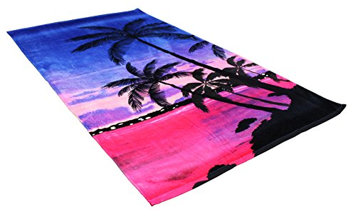 "Oversized Extra-Large Terry Cotton Beach Towe, 40x70"", Soft Absorbent and Dry Fast for Swimming Pool, Beach and Spa-Tropical Palm Trees"
