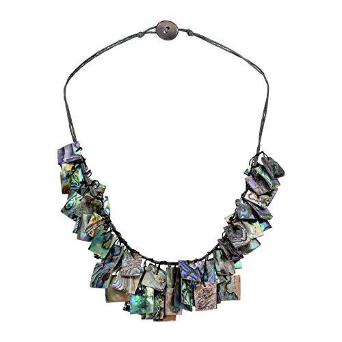 AeraVida Stylish Hanging Abalone Shell Rectangles Layered Statement Necklace