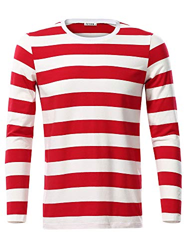 VETIOR Striped Shirt Mens Casual Fall Tshirts Red Medium ()