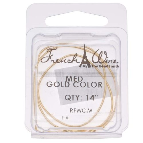 Beadaholique French Wire (Bullion) Gold Color Med - 14 Inch (Wire Bullion French)