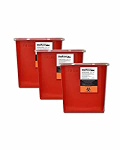 2 Gallon Sharps Disposal Containers (3 Count) | Oakridge Products | Large size