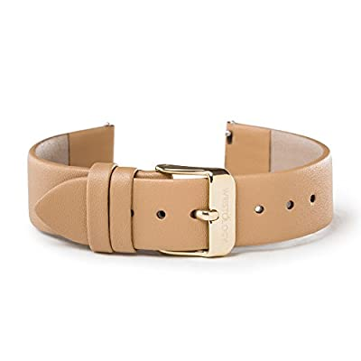 WRISTOLOGY 18mm Womens Sand Tan Brown Leather Easy Change Interchangeable Strap Band