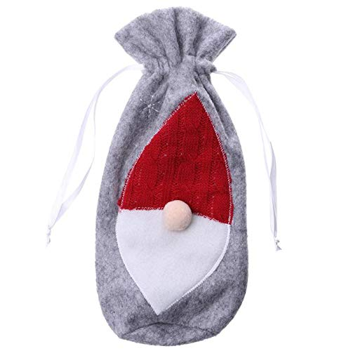 Wine Bottle Covers - Linen Felt Christmas Red Wine Bottle Cover Candy Bag Year Party Table Dinner Decoration Festival - Shower For Wedding Mom Engagement Gift Personalized Summer Blind Bridal -