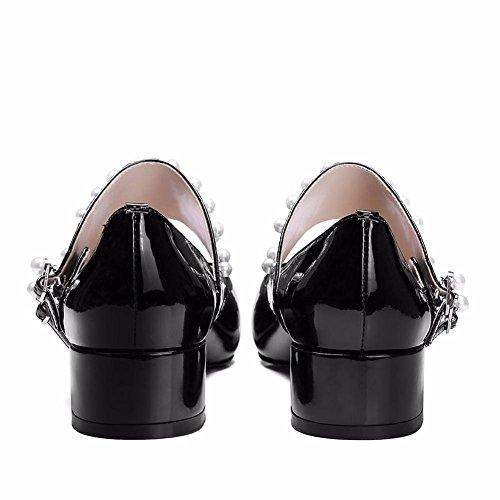 Femmes Boucle Noir Doigt EUR38UK55 Pompes Robe Perle Rugueux Chunky BLACK de Travail Cuir Pointu Talon Chaussures Pied Tribunal Faible Fête NVXIE qzdFwESqW