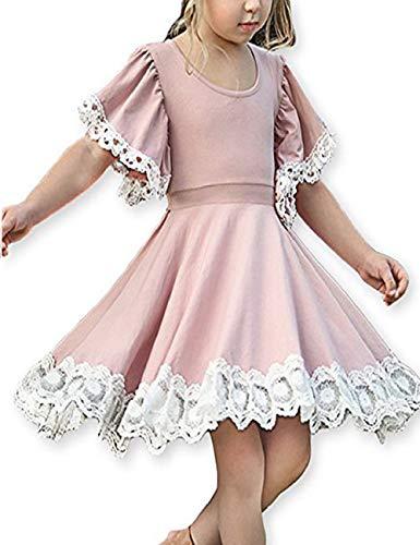 KYMIDY Girls Dress Kids Trumpet Sleeve A Line Sundress Twirl Swing Hem Dress Christmas Toddles ()
