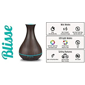 Blisse Essential Oil Diffuser, Dark Wood color, Vase shape, Ultrasonic Aromatherapy Humidifier, 400ml, Ultra Quiet, 7-color LED Light, Cool Mist, Child & Pet Safe