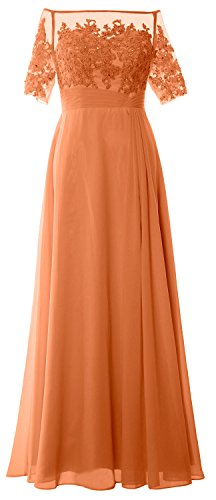 MACloth Women Off Shoulder Mother of Bride Dress Short Sleeve Lace Formal Gown Coral
