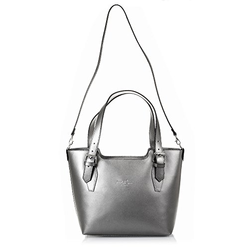 Tamponato Pelle 37 Grey Finish In Colour Made Italian Genuine Women's 10 Bag nbsp;x Tote Exclusive Italy Leather Design Artegiani Firenze nbsp;x Vera nbsp;cm Women Shoulder 25 wU4zq