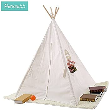 Pericross 4 Panel Teepee Cotton Canvas Play Tent with Connected Bottom (Solid White)