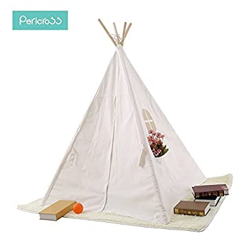 Pericross 4 Panel Teepee Cotton Canvas Play Tent with Connected Bottom (Solid White)  sc 1 st  Amazon.com & Amazon.com: Pericross 4 Panel Teepee Cotton Canvas Play Tent with ...